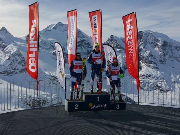 © swiss-ski.ch / Das reine Schweizer Podest vom Mittwoch mit Sandro Simonet, Anthony Bonvin und Semyel Bissig