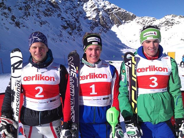 © swiss-ski.ch / Von links: Christian Hirschbühl (AUT), Luca Aerni (SUI), und Daniel Yule, (SUI).