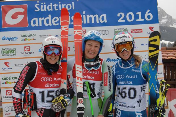 Federica Brignone, lka Stuhec und Marta Bassino (Foto: www.gardenissima.eu)