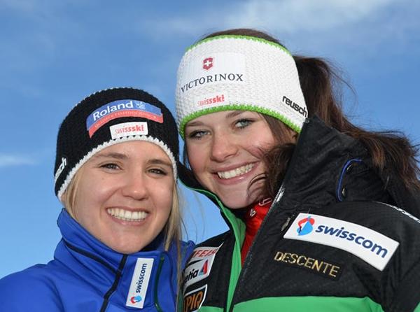© Swiss-Ski / So sehen Siegertyp(inn)en aus (v.l.) Joana Hählen und Corinne Suter.