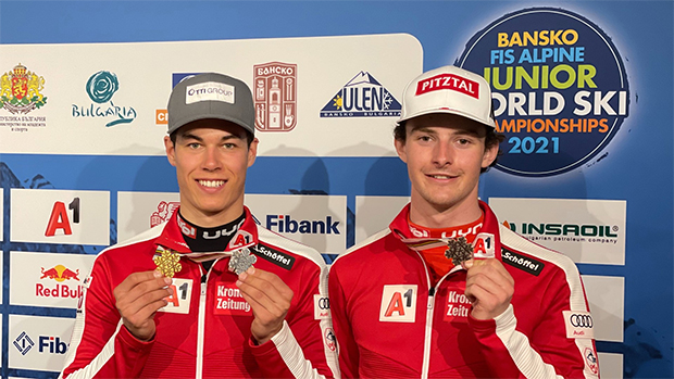 Lukas Feurstein und Joshua Sturm freuen sich über ihre Medaillen (Foto: © ÖSV/Schramm)