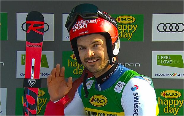 Loic Meillard übernimmt Führung beim Riesentorlauf von Kranjska Gora