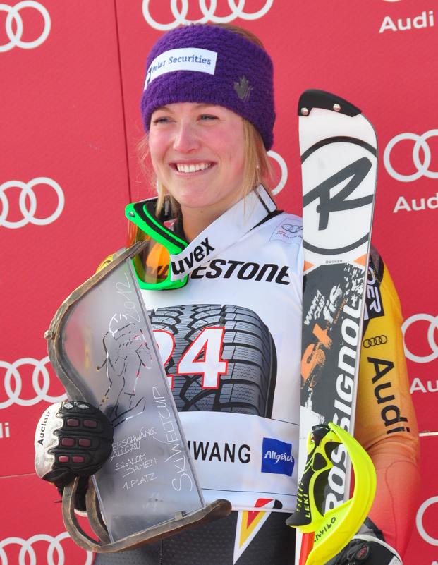 © Christian Einecke (CEPIX)  Erin Mielzynski Sensationssiegerin beim Slalom in Ofterschwang – Manuela Mölgg 19.