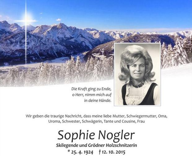 © hahnenkamm.com  / Hahnenkamm-Siegerin Sophie Nogler verstorben