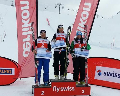 © swiss-ski.ch  /  Das Podest U21: Wendy Holdener siegt vor Joana Hählen und Jasmina Suter.