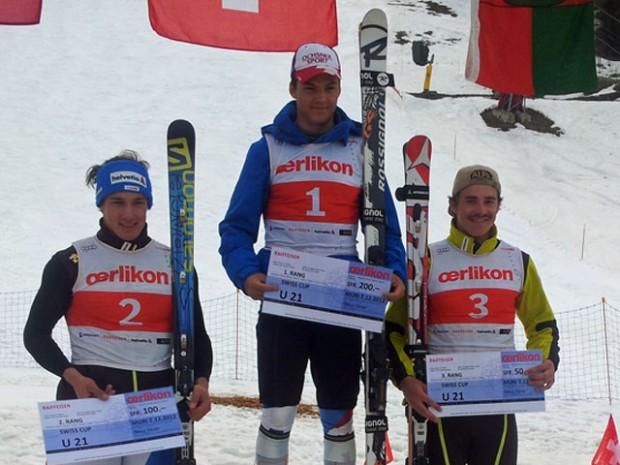© swiss-ski.ch / Das Siegerpodest U21. V.l.n.r.: Luca Aerni, Loïc Meillard und Amaury Genoud.