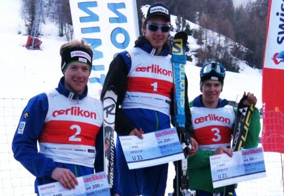 © swiss-ski.ch  /  Das Podest U21: Luca Aerni siegt vor Reto Schmidiger und Joel Müller.