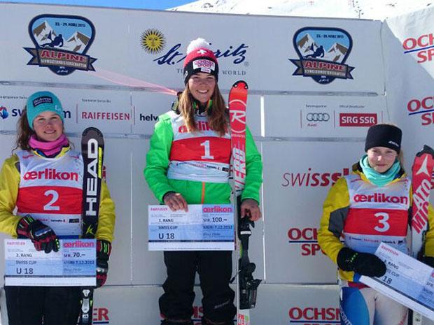© swiss-ski.ch / Podium 28.03., SL U18. V.l.n.r.: Aline Danioth, Mélanie Meillard, Gina Zumbühl
