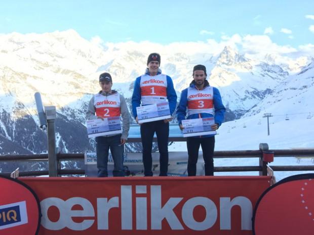 © swiss-ski.ch / Podium Oerlikon Swiss Cup Riensenslalom Kat. U21. V.l.n.r.: Ian Gut, Stefan Rogentin, Gilles Roulin