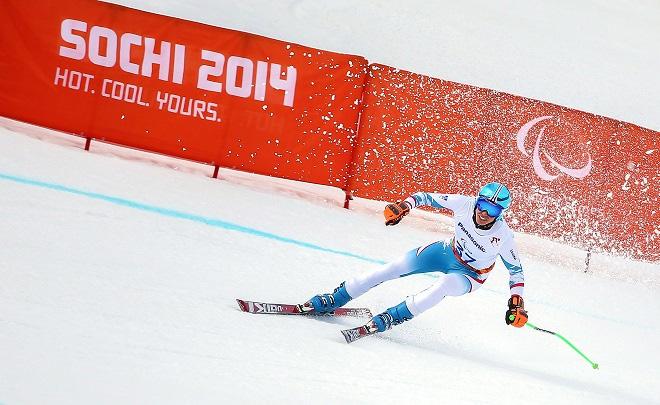 Markus Salcher auf seinem Weg zur Goldmedaille in der Abfahrt von SOCHI 2014.  © ÖPC/GEPA/Christopher Kelemen