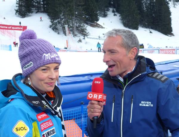 Tina Maze und Rainer Pariasek