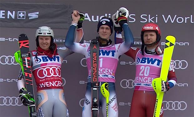 Die 90. Int. Lauberhornrennen wurden mit dem Slalom abgeschlossen. Auf dem Podest Henrik Kristoffersen, Clement Noel und Alexander Khoroshilov