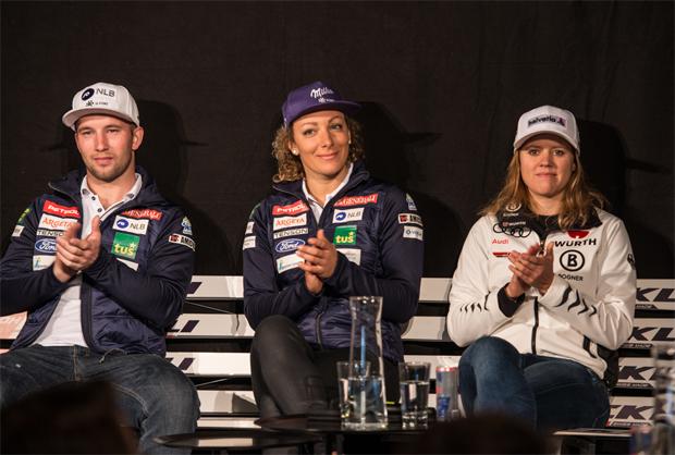 Stöckli Ski Pressekonferenz: Martin Cater, Ilka Stuhec und Viktoria Rebensburg / Foto: Egelmair Photogaphy
