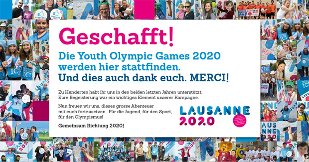 Die Youth Olympic Games finden 2020 in Lausanne statt! (© Swiss-Olympic.org)