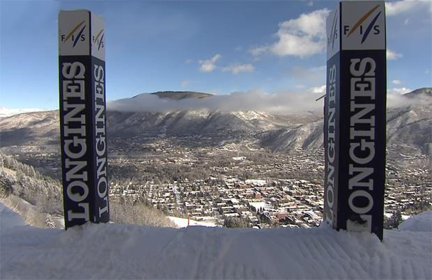 Blick auf Aspen aus dem Slalom Starthaus