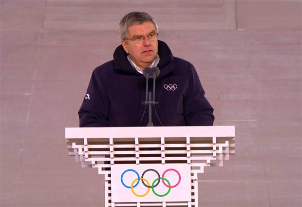 IOC-Präsident Thomas Bach sprach die offizielle Formel und beendete die Olympischen Winterspiele 2018 in Südkorea.