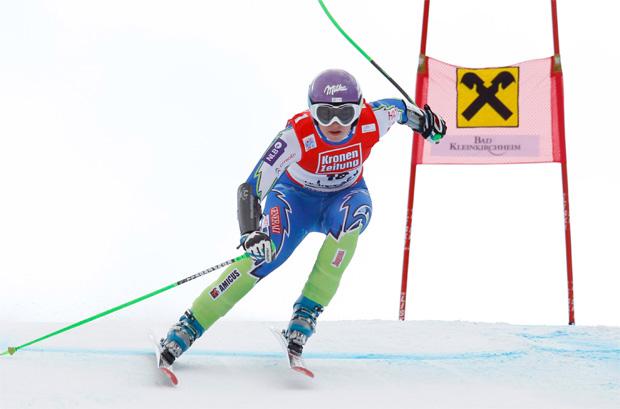 © Kraft Foods / Tina Maze im Januar 2012 bei der Abfahrt in Bad Kleinkirchheim