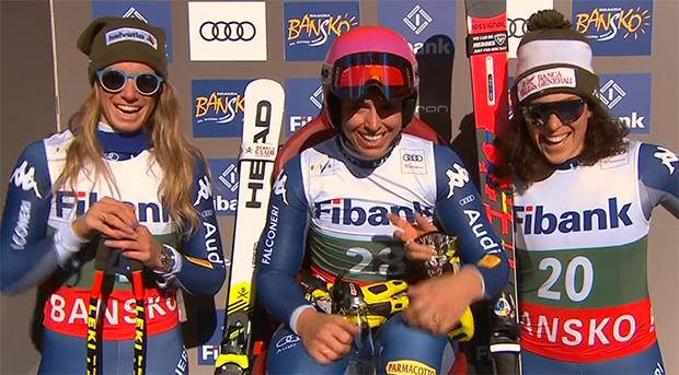 Marta Bassino, Elena Curtoni und Federica Brignone feierten dreifach Sieg in Bansko