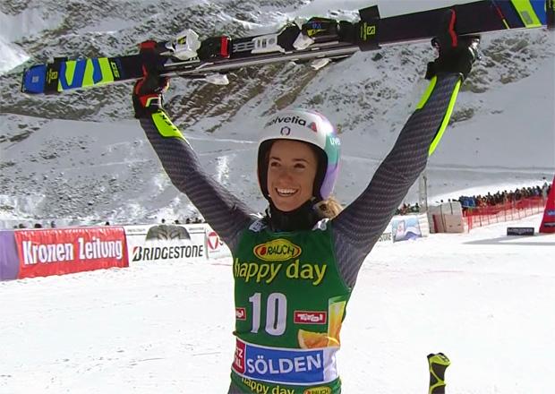 Marta Bassino freut sich über ihren ersten Stockerlplatz im Weltcup