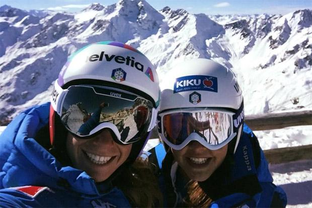 Marta Bassino und Karoline Pichler freuen sich auf den Saisonauftakt in Sölden (Foto: Facebook / Karoline Pichler)