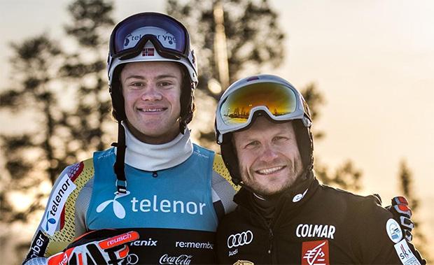Lucas Braathen (20) & Julien Lizeroux (41): Zwei Slalom-Generationen treffen sich in Kåbdalis (SWE) (Foto: Lucas Braathen / Instagram)
