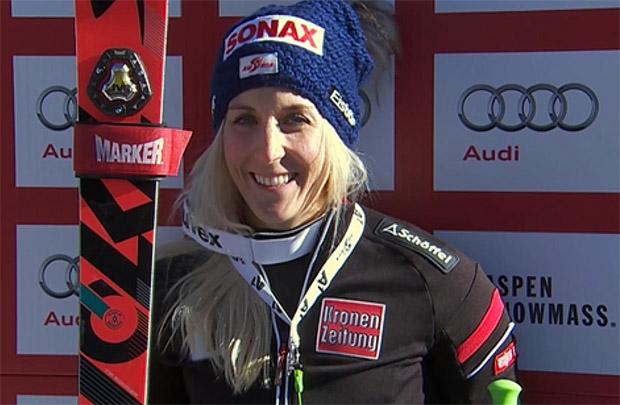 Eva Maria Brem führt nach dem 1. Durchgang beim Riesenslalom von Aspen