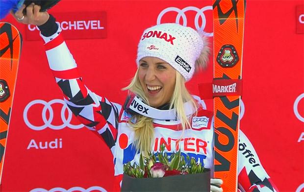 Eva-Maria Brem, die Führende im Riesenslalom-Weltcup