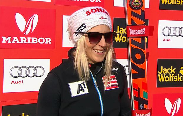 Eva-Maria Brem übernimmt Halbzeitführung beim Riesenslalom in Maribor