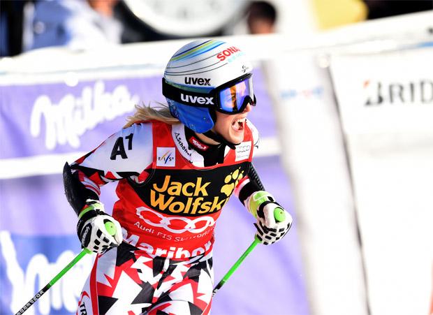 © Kraft Foods / Eva- Maria Brem liegt im Riesenslalom-Weltcup in Führung