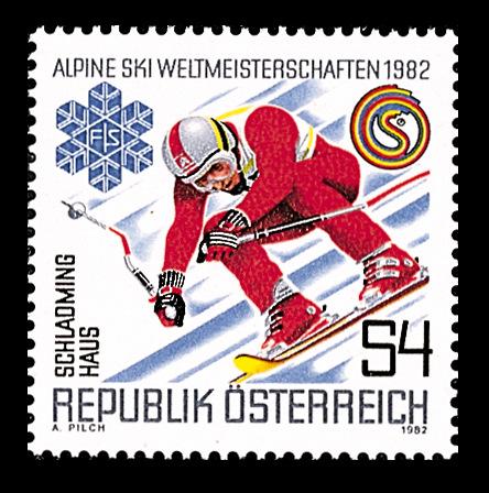 Sonderbriefmarke zur SKI WM 1982