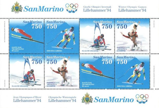 Anlässlich der Olympischen Winterspiele 1994 in Lillehammer widmete die sanmarinesische Postverwaltung u.a. Abfahrtsolympiasieger Patrick Ortlieb eine Sonderbriefmarke.