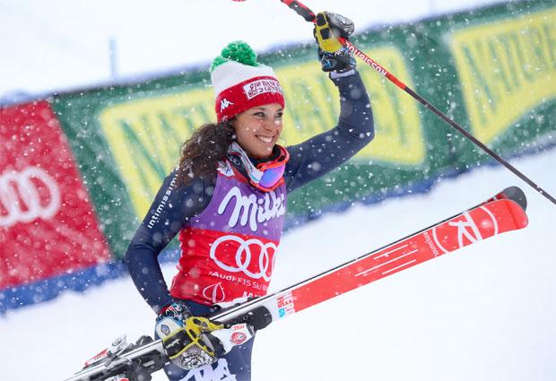 © Kraft Foods / Federica Brignone bei Lara-Gut-Sieg beim Riesenslalom in Aspen beste Italienerin