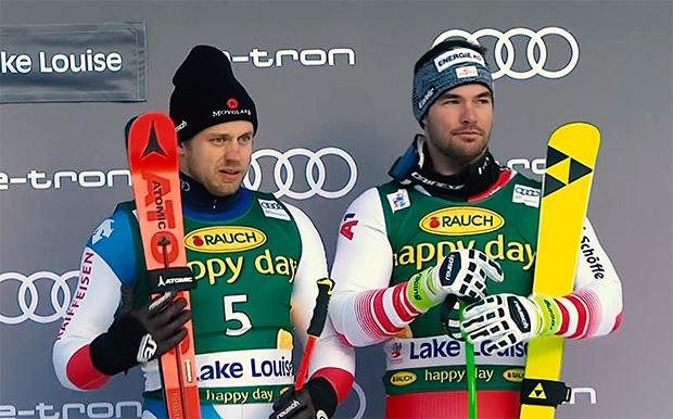 Mauro Caviezel und Vincent Kriechmayr teilen sich den dritten Platz beim Super-G von Lake Louise