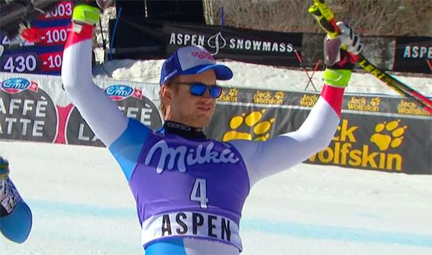 Mauro Caviezel kann auf seinen dritten Rang im Super-G von Aspen stolz sein