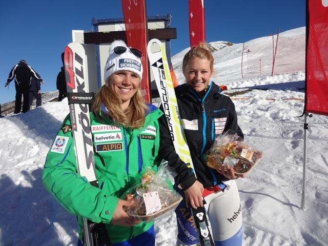 © swiss-ski.ch  /  Die beiden strahlenden Siegerinnen: Andrea Ellenberger (l.) und Simone Wild
