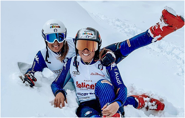 Nicol und Nadia Delago arbeiten mit Francesca Marsaglia in Saas Fee (Foto: © Nadia Delago / Instagram)