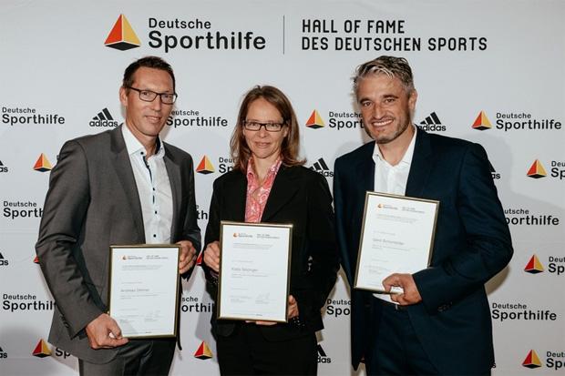 """Andreas Dittmer, Katja Seizinger und Gerd Schönfelder offiziell in """"Hall of Fame"""" aufgenommen (Foto: """"obs/Stiftung Deutsche Sporthilfe/picture alliance für Sporthilfe"""")"""
