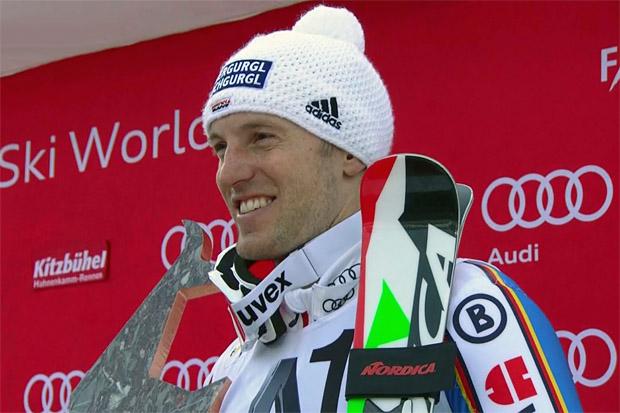 Fritz Dopfer freut sich in Kitzbühel über ersten Podestplatz in der Saison 2015/16