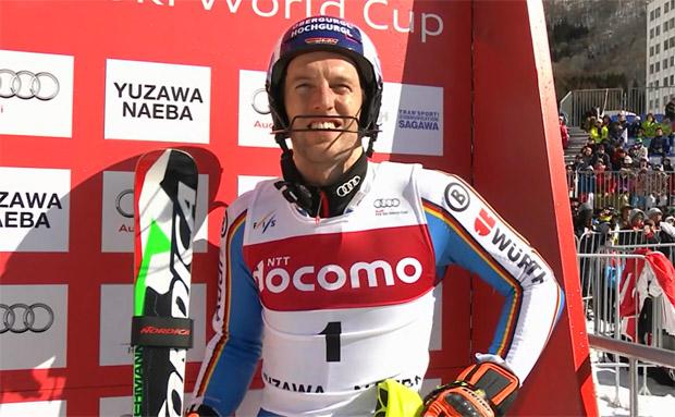 Fritz Dopfer mit Halbzeitführung beim Slalom von Naeba