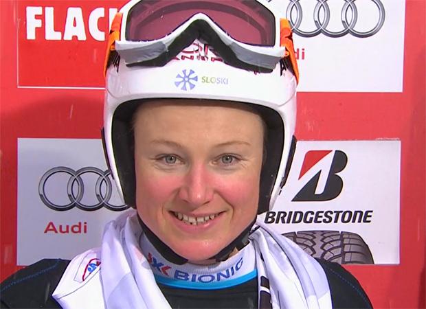 Halbzeitführung für Ana Drev beim Riesenslalom in Flachau