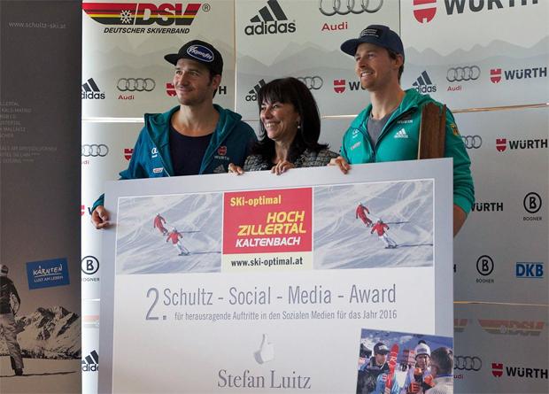 Felix Neureuther, Martha Schultz (Schultz-Gruppe) und Preisträger Stefan Luitz