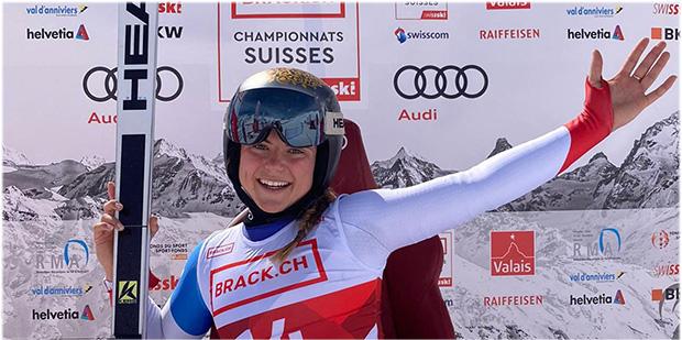 Delia Durrer sichert sich im Rahmen der Schweizer Meisterschaften auch die Abfahrtsgoldmedaille (Foto: © Swiss-Ski.ch)