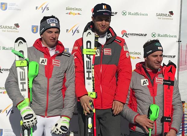 Ein rein österreichisches Podium bei der Alpine Kombination in Reinswald: Frederic Berthold, Johannes Kröll und Daniel Danklmaier (Foto: Hannes Kröss)