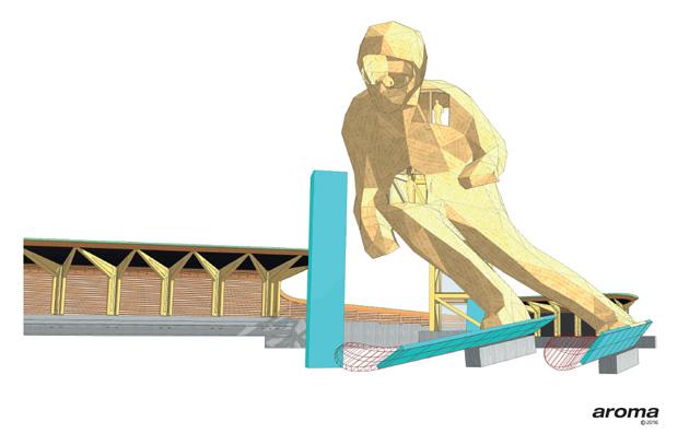 Edy - das Skimonument aus Holz ist die Symbolfigur der FIS Alpinen Ski WM St. Moritz 2017 (Foto: stmoritz2017.ch)