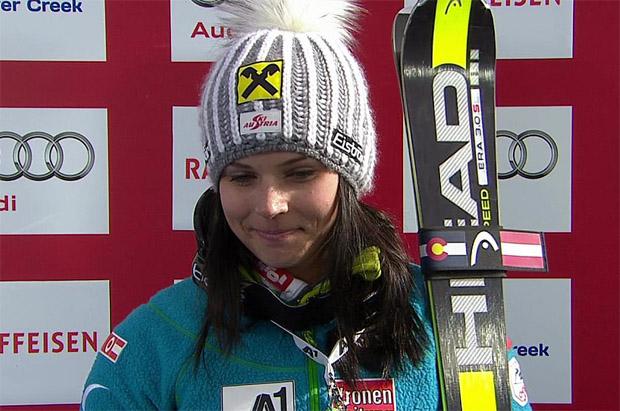 Anna Fenninger liegt beim WM-Riesenslalom der Damen souverän in Führung