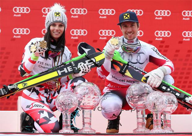 So sehen Sieger aus: Anna Fenninger and Marcel Hirscher mit ihren Kristallkugeln Photo: GEPA pictures/ Harald Steiner