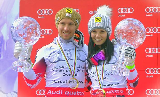 Die Gesamtweltcupsieger 2014/15: Anna Fenninger und Marcel Hirscher