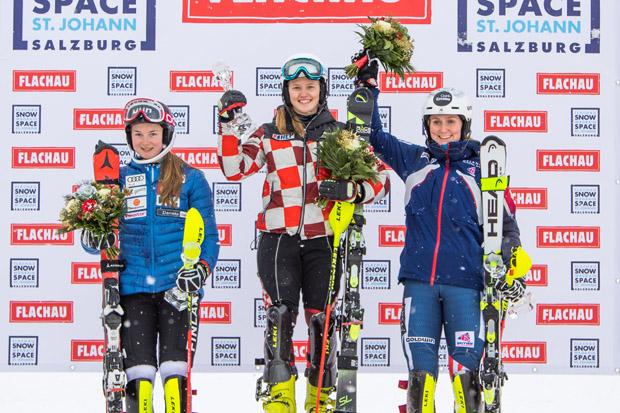 Den Sieg holte sich die Kroatin Ida Stimac vor Riikka Honkanen aus Finnand und der Britin Charlie Guest. Fotocredit: Skiweltcup Flachau/Christian Fischbacher