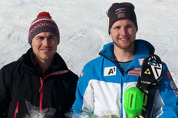 Manuel Wieser (Sieg) und Marco Schwarz (Rang zwei) sorgten für Top-Resultate bei den FIS-Slalombewerben in Davos. (Foto: ÖSV)