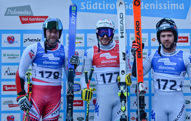 Romed Baumann, Mattia Casse und Simon Maurberger (Bild: Valgardena.it / Diego Moroder)
